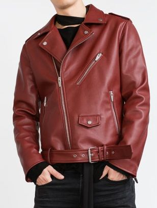 Handmade mens Red leather jacket, mens motorbike jacket,