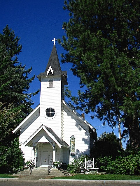 """Angelina's Canby Pioneer Chapel """"Little White Chapel"""" Canby, Oregon. My wedding spot!"""