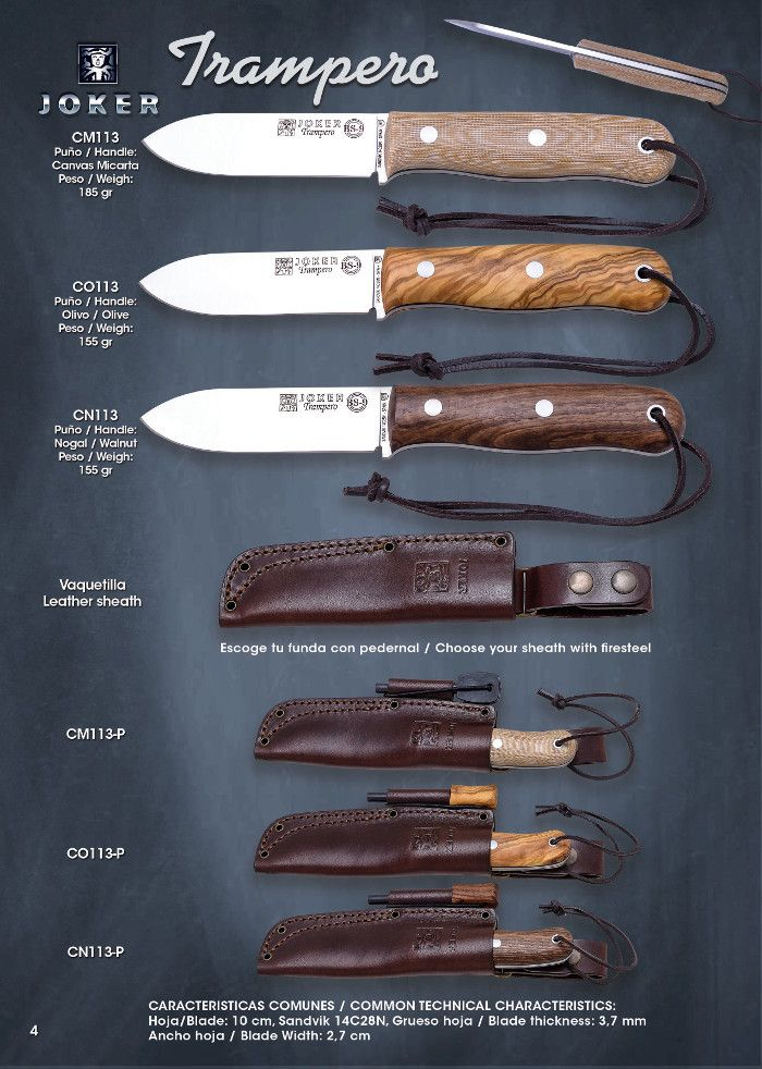 cuchillos tacticos y caza tacticos - BS9 TRAMPERO - Joker - Cuchilleria Albacete