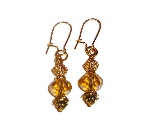 Gold Glass Bead Dangle Earrings. Sparkling Elegant by BlissfulVine, $18.00