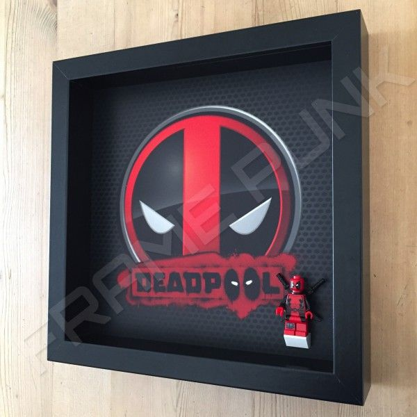 Deadpool Black Frame Display With Deadpool Minifigure Side View