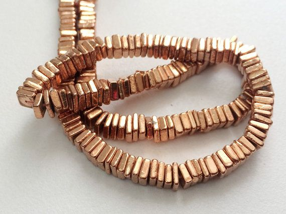 Pyrite Heishi Beads Copper Pyrite Square Heishi by gemsforjewels