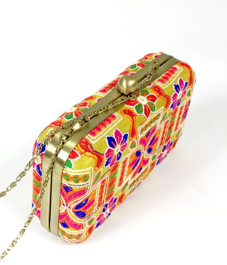 Phulkari Embroidered Metal Clutch. Perfect for Weddings, Viah, Nikah or Shaadi. Get your stylish Box Clutch today.Silk Base, High quality product. From California with Love. Ship time 1-3days :-)