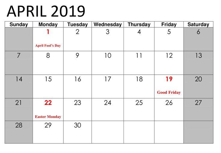 april calendar 2019 with public holidays
