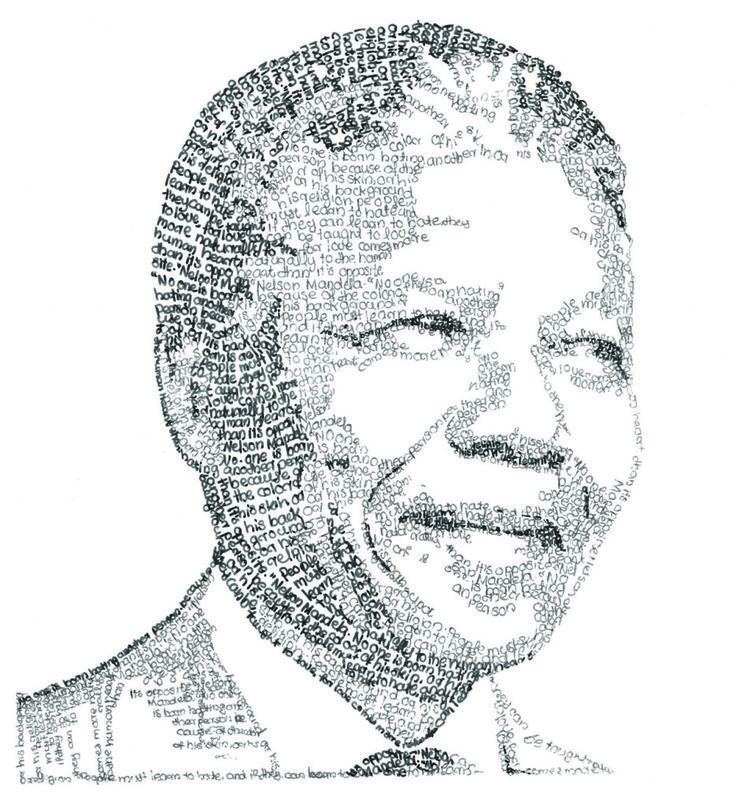 Nelson Mandela portrait handmade with words quoted from