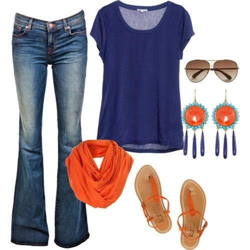 Love love love: Orange, Colors Combos, Style, War Eagles, Clothing, Blue, Jeans, Games Day Outfits, Earrings