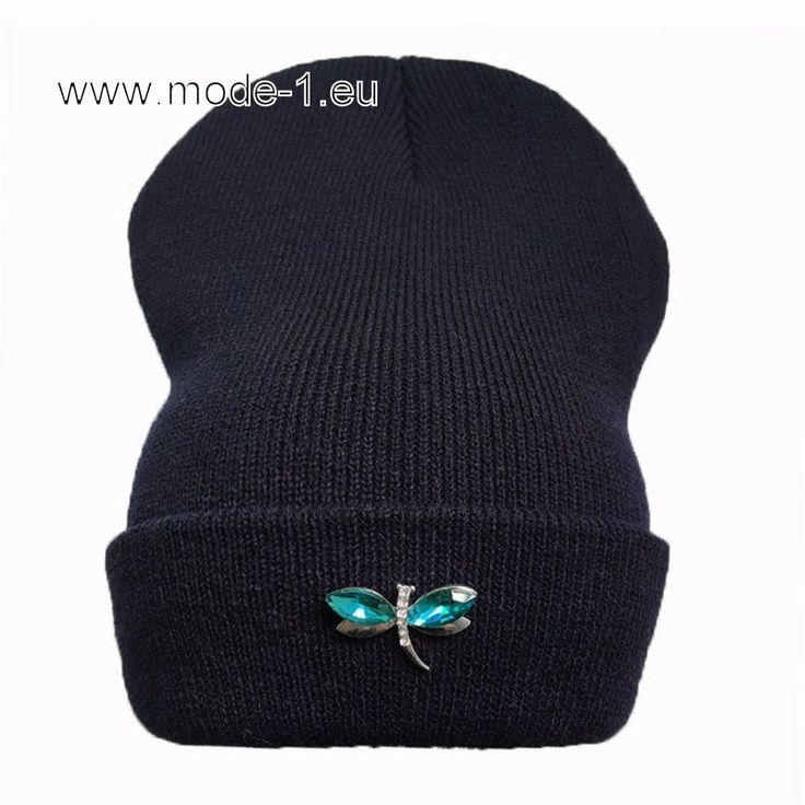 Damen Mütze in Dunkelblau mit Blaue Libelle