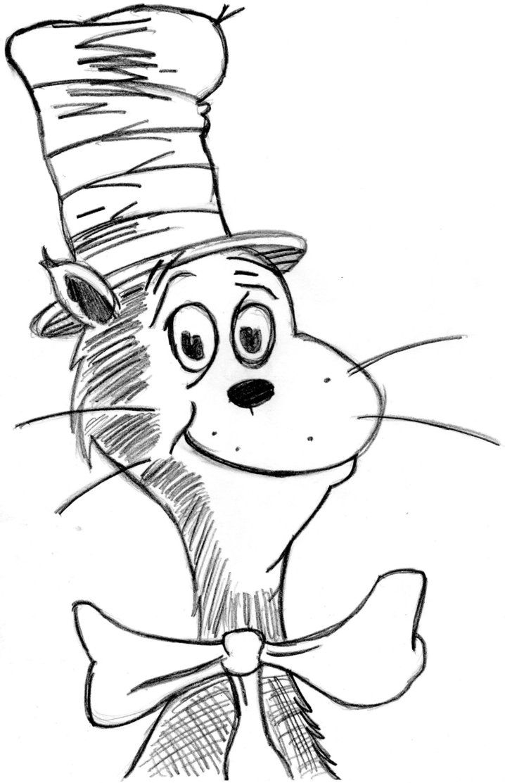Geeky image regarding cat in the hat coloring pages free printable