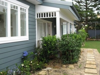 exterior paint blue and white
