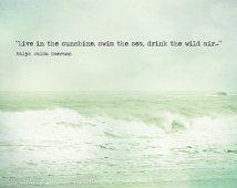 Plage citation océan photographie Waldo menthe vert Sarcelle Aqua Shabby Chic plage vagues Seascape, tirage d'Art