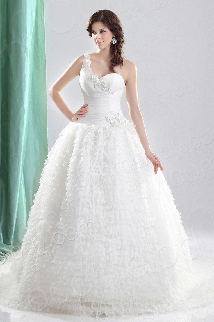 Lovely New Design Ball Gown One Shoulder Court Train Organza Wedding Dress CWLT wedding dress