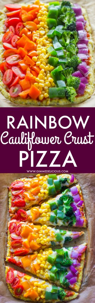 Rainbow Cauliflower Crust Pizza