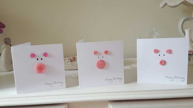 Cute pig birthday cards