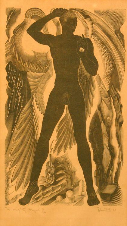 Blair Hughes-Stanton (English, 1902-1981)  The Mighty Angel, 1931  Monochrome woodblock
