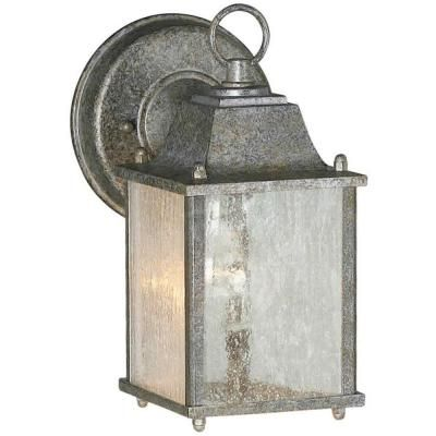 Talista 1-Light Outdoor River Rock Wall Lantern with Clear Seeded Glass Panels - CLI-FRT1755-01-59 - The Home Depot $26.55.
