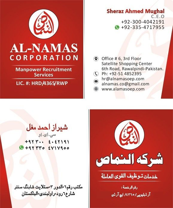 We Are Happy To Introduce Our Self M S Al Namas Corporation As One Of The Leading Consultants In Pakistan We Proudly State Th Corporate Positivity Candidate