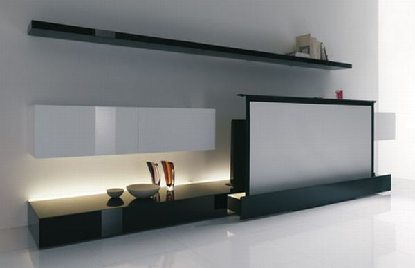 acerbis-living-room-ideas-3  Under the sofa drawer. Max thinness?    or behind it (at an angle thus small scree only)