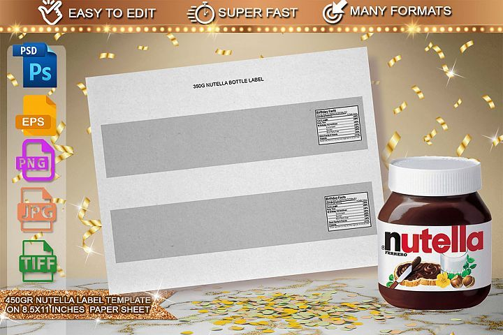 450g Nutella Jar Label Template 270752 Customizable Templates Design Bundles Nutella Jar Jar Labels Label Templates