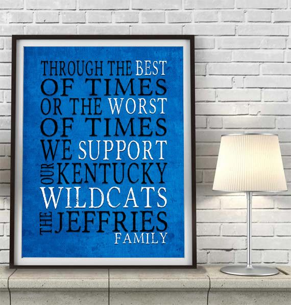 """Kentucky Wildcats Personalized Customized Art Print- """"Best of Times"""" Parody- Charles Dickens-  Unframed Print"""