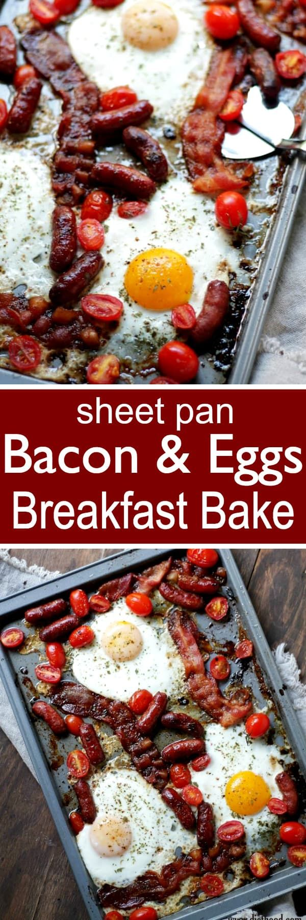 Bacon and Eggs Breakfast Bake - Warm and delicious one sheet pan breakfast bake with eggs, bacon, sausage and tomatoes. Just your all-time favorite breakfast ingredients on one sheet pan baked in the oven.