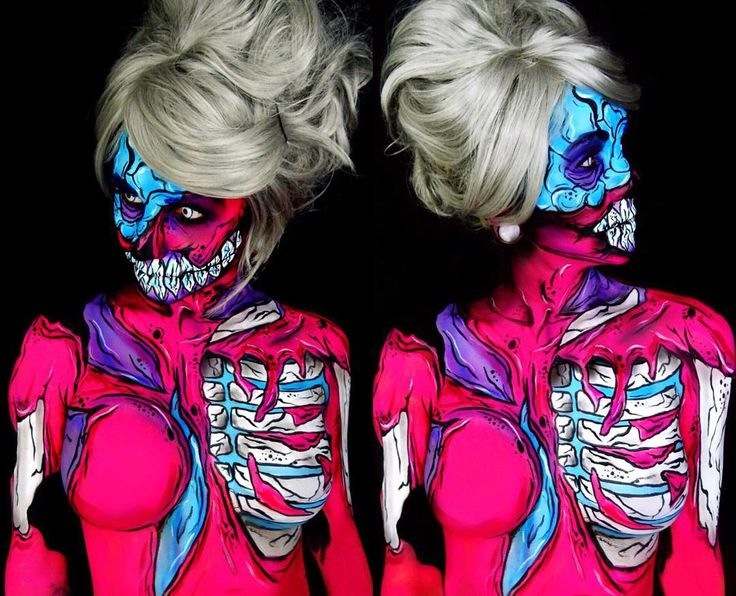 the side views of this one were kinda gnarly so heres a side by side of my pinky zombie from the other day💀💕hope everyone had an awesome long weekend! . . . . . . . #ughhashtags #mehron #bodypaint #bodypainting #facepainting #bodyart #creativemakeup #motd #sfxmakeup #halloween #halloweenmakeupideas #twistinbangs #jordanhanz #luvekat #dehsonae #creativeboss #mykie_ #nyx #nyxmakeup #makeupgeek #buzzfeed #popartzombie #popart #zombie #zombiemakeup #livingdeadgirl #comicbook #popartmakeup
