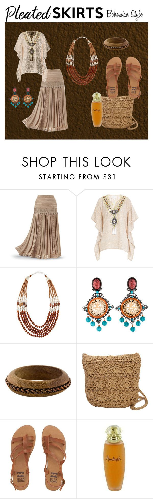 """Bohemian Style Pleated Skirt"" by susan-993 ❤ liked on Polyvore featuring Gooshwa, NAKAMOL, Lawrence Vrba, Dolce&Gabbana, Magid, Billabong and pleatedskirts"