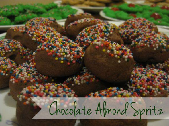 chocolate almond spritz chrismas cookies