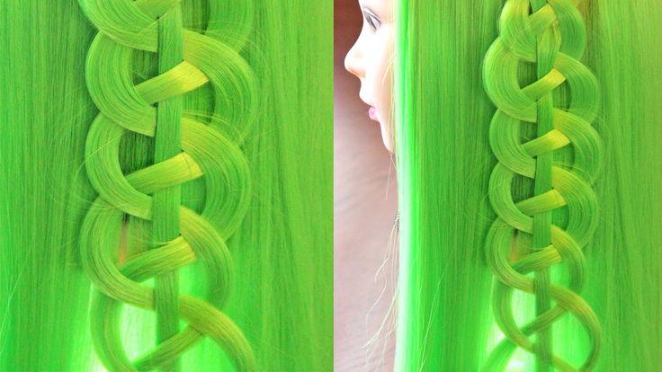 """6 урок - коса из 4 прядей """"Змейка"""" - Так можно украсить прямые распущенн..."""