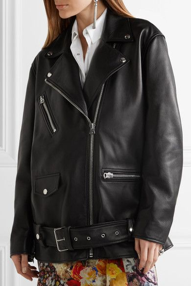 Black leather Asymmetric zip fastening through front 100 leather (Lamb); lining: 52% viscose, 48% cotton Specialist clean