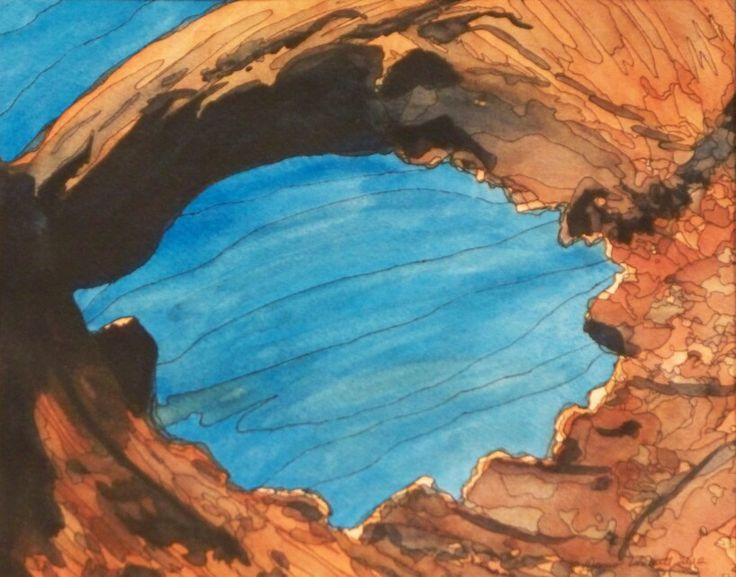 """""""Door To Adventure""""  Watercolor & Ink 11"""" x 14"""""""