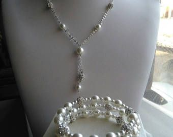 Collana e bracciale armonico con pavé e perle bianche!