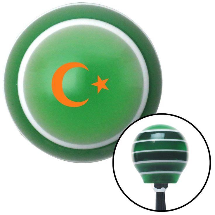 Orange Symbol of Islam Green Stripe Shift Knob with M16 x 15 Insert