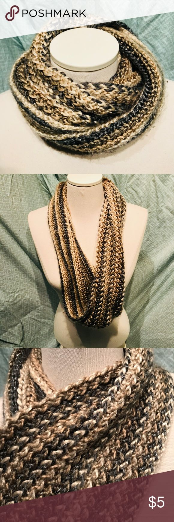 ⛄️Infinity scarf 🧣 Braided metallic scarf. Stripes in beige, brown, and grey with silver strands Coldwater Creek Accessories Scarves & Wraps