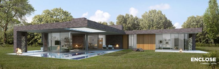 Ruimtelijk gelijkvloers ontwerp. 205 m²/700 m³. Terras 80 m².