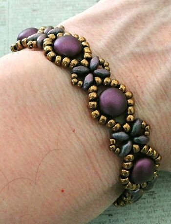 Linda's Crafty Inspirations: Bracelet of the Day: Sunflower Bracelet - Pastel Bordeaux