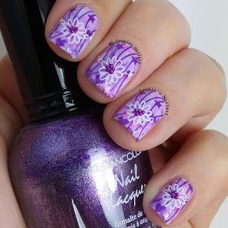 Leonie's Nailart: Purple Sharpie with stamped flower - Pictorial