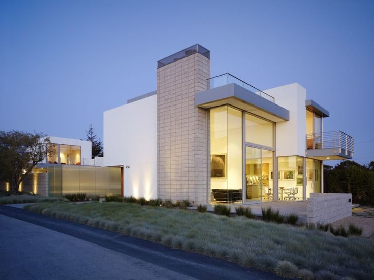 Contemporary Modern House White Exterior Looks With Large Yard .