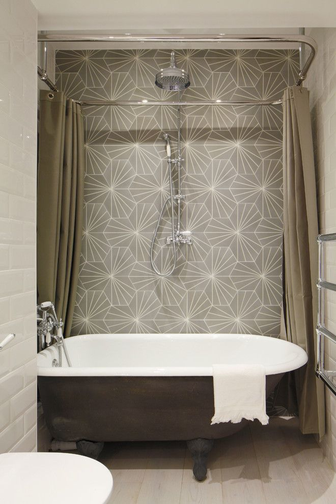 Cool Tub And.is That Wallpaper? Industrial Bathroom By Oliver Burns