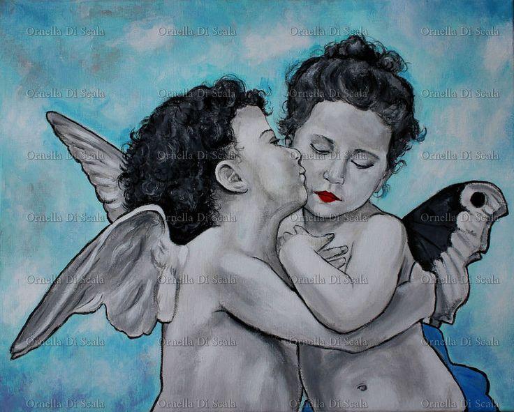 Capoletto moderno angeli cupidi amorini pop arte regalo nozze,angel painting, by Ornella Di Scala, 250,00 € su misshobby.com