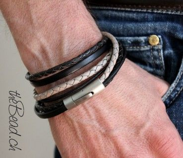 leather bracelet black passion -  Lederarmband für Herren