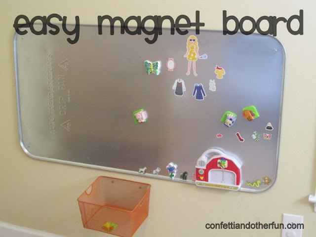 Magnetic Board For Kids Room : easy magnet board for kids room. I spray painted an oil drip pan with ...