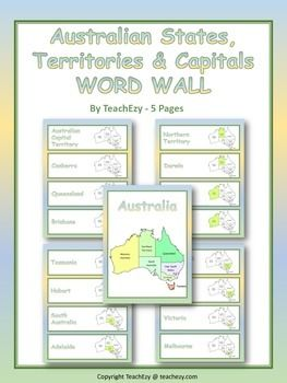 Australian States, Territories and Capitals Word Walls