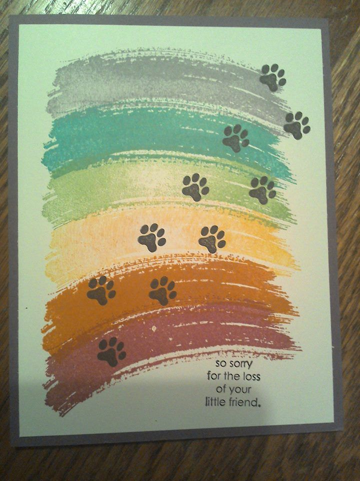 2016 PET SYMPATHY CARD Created by Nancy Shoemaker Brown Using the SS work of art to make a rainbow, then stamp paw prints on the rainbow using the SS C is for cat, by Stampin Up!