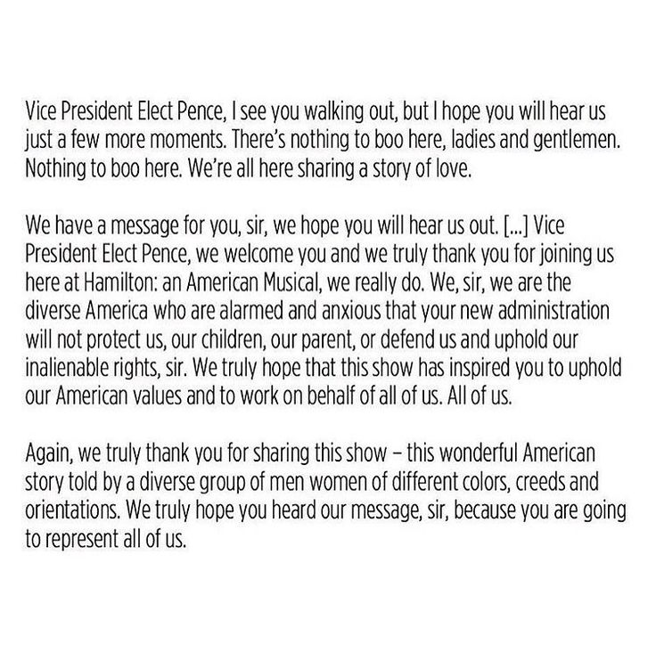 I've noticed Brandon V. Dixon's speech going around Pinterest, and I noticed that what is going around isn't the full speech. This is a complete transcript of the speech he made, the very same one that was shared on Instagram by most of the cast after it happened.