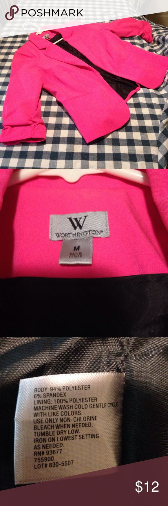 Worthington HOT Pink Blazer - Size M Stunningly sexy hot pink blazer with cinched sleeves and black lining. Would go great with a striped/polka dot shirt and some sleek skinny jeans with heels. Bought from fellow posher, but it didn't fit. Says Medium, but fits smaller. Adorable! Wish I could keep! Worthington Jackets & Coats Blazers