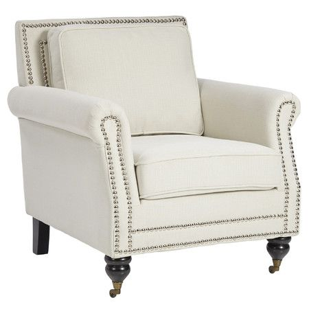 Adore the nailheads on this accent chair! 25 of the best affordable accent chairs on ablissfulnest.com