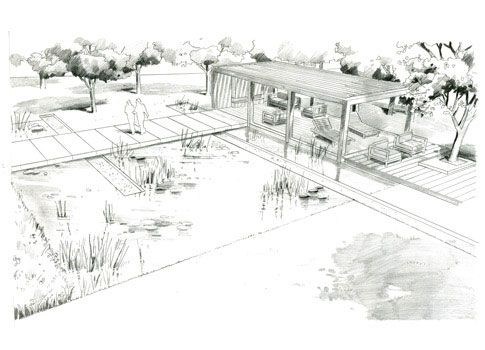 Hand rendering over sketchup base architectural drawing for Landscape architect drawing