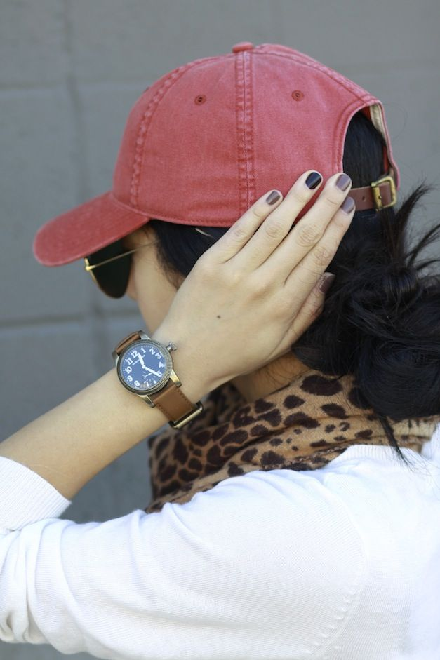 baseball hat, leopard and nails. casual cool.