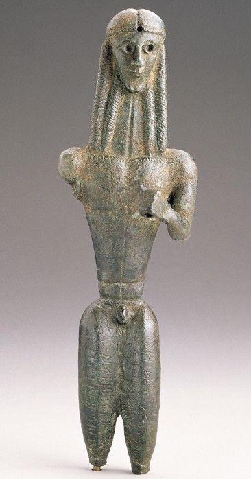 ARCHAIC - Mantiklos Apollo, ca.700-680 BCE Bronze,  Orientalizing Period Inscribed on lower portion.