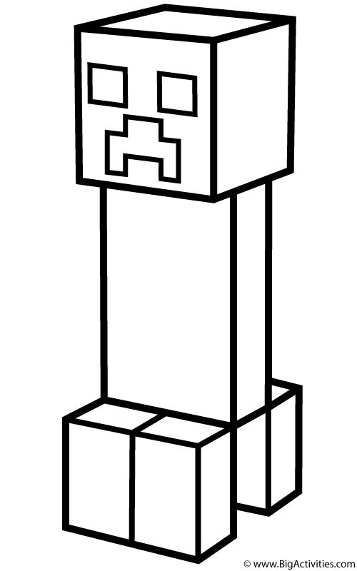 Minecraft Creeper Coloring Pages 01 Silhouette projects
